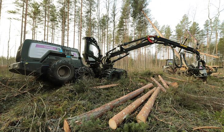 Hybridiharvesteri metsässä