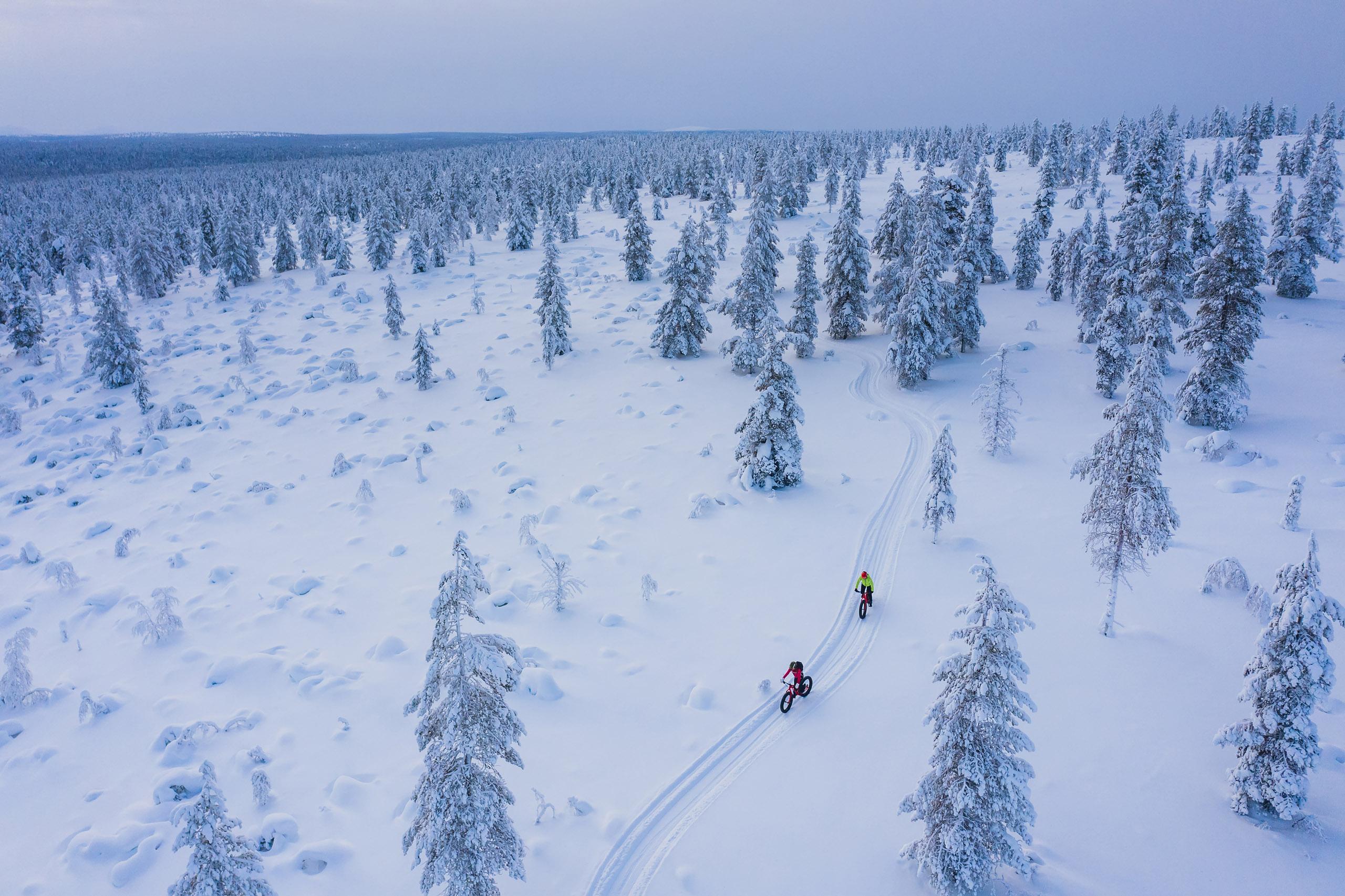 Talvipyöräilijöitä lumisessa maisemassa