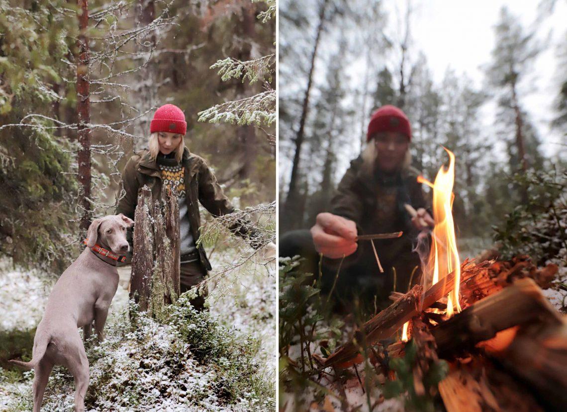 Marjo Kämäräinen metsässä