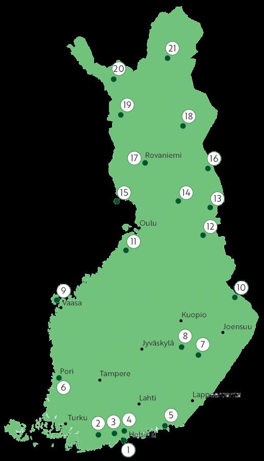 Kartta Metsähallituksen kohteista